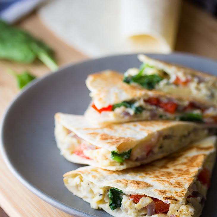 Spinach, Feta & Red Pepper Breakfast Quesadillas (Make Ahead)