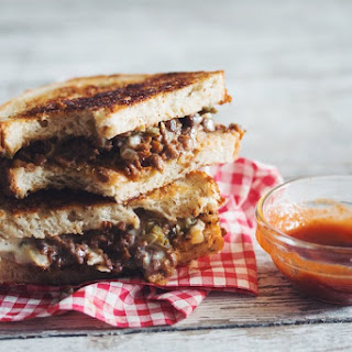 Spicy Vegan Grilled Cheese & Beef Sandwich