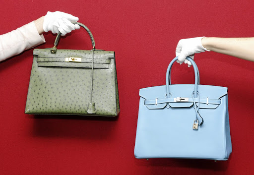 An Hermes Birkin and an Hermes Kelly bag at a pre-auction photo call for Hermes handbags at Bonhams, Knightsbridge, London.
