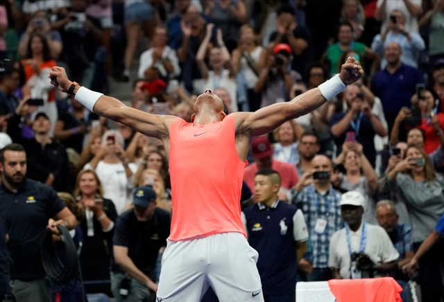 Rafael Nadal of Spain after beating Karen Khachanov of Russia in a third round match on day five of the 2018 US Open tennis tournament at USTA Billie Jean King National Tennis Center.