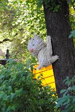 Photo: Котенок, карабкающийся на дерево. Его сделали из одноразовых вилок.