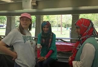 Photo: Lynne talks to Zahra and Maryam