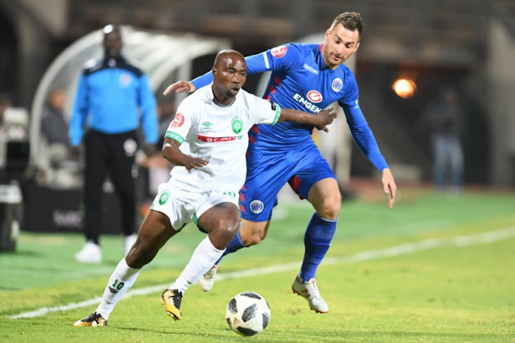 Bradley Grobler of SuperSport United and Siyabonga Nomvethe of AmaZulu FC tussle for the ball during the Absa Premiership match at Lucas Moripe Stadium on August 08, 2018 in Pretoria, South Africa.