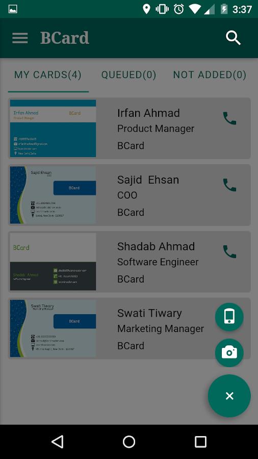 social media handles on business cards. bcard business card reader- screenshot social media handles on cards