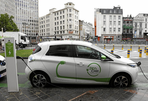 A Renault ZOE electric car from the car-sharing company Zen Car connected to a charging point in Brussels, Belgium. Picture: Reuters