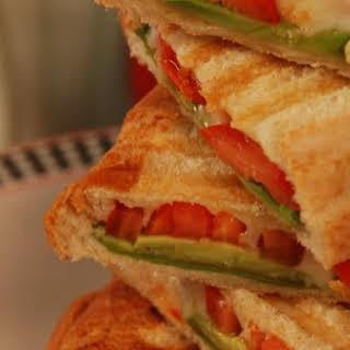 Avocado Tomato & Mozzarella Panini/sandwiches.