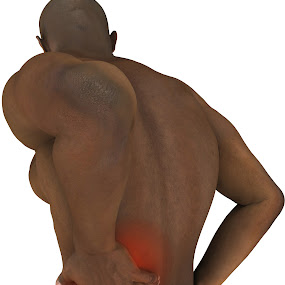 Medical illustration of man in Lower Back Pain by Emily Fnm3d - Illustration People ( torso, model, black man, lower, neck, holding, pain, back, indicate, skin, colour, fit, red, area, 3d, male beauty, color, human male, american, shoulder, handsome, black, man )