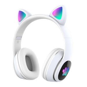 Casti audio Wireless, urechi de pisica, iluminare LED, Stereo