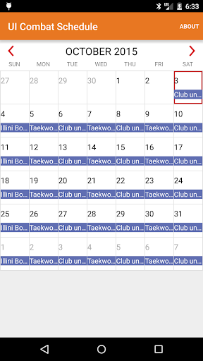 UI Combat Schedule