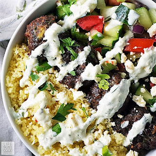 Greek Bowl with Meatballs over Couscous