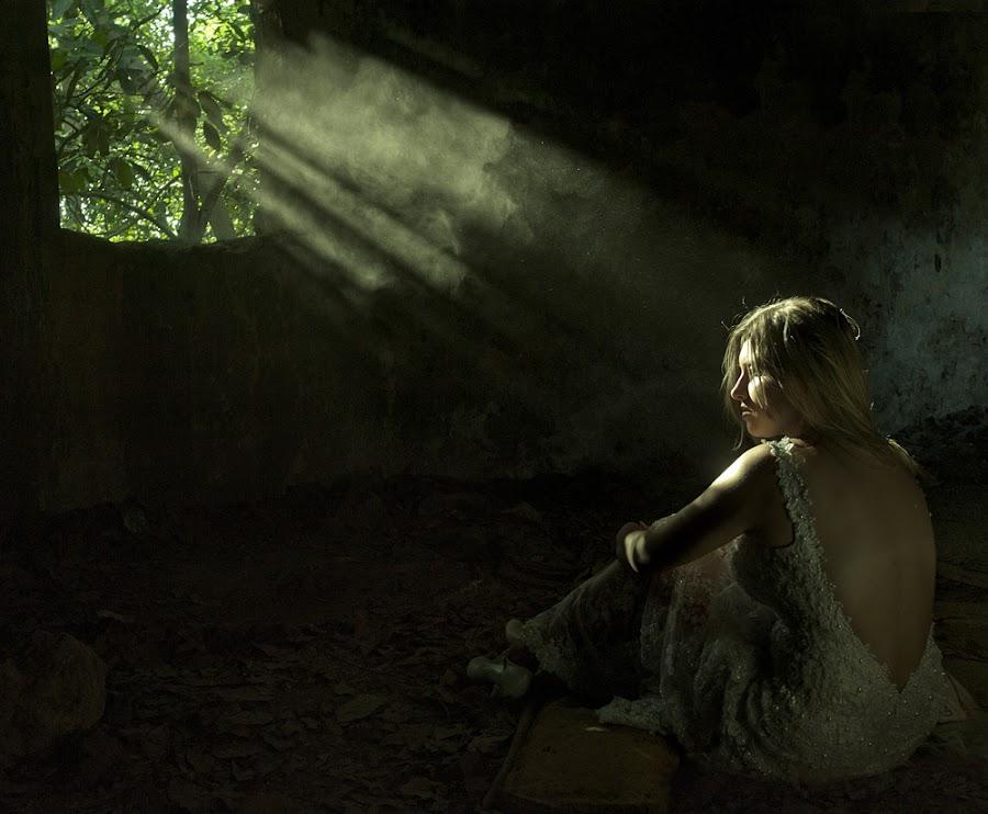 Rays of light by Victor Vertsner - Wedding Bride ( window, dress, bride, light, rays )