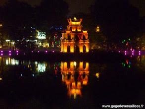 Photo: #008-La tour de la Tortue au milieu du lac Hoan Kiem à Hanoi
