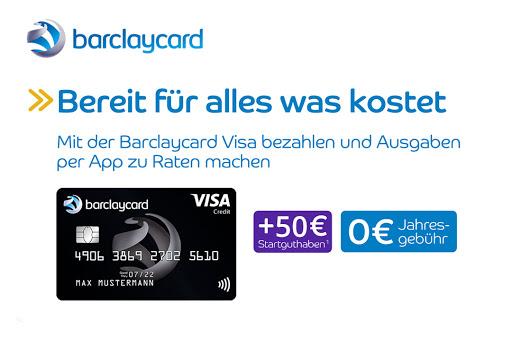 Bild für Cashback-Angebot: Barclaycard Visa Kreditkarte + 50€ Startguthaben