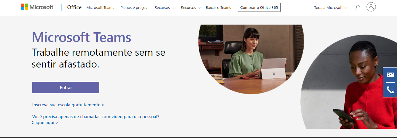 Página inicial do Microsoft teams