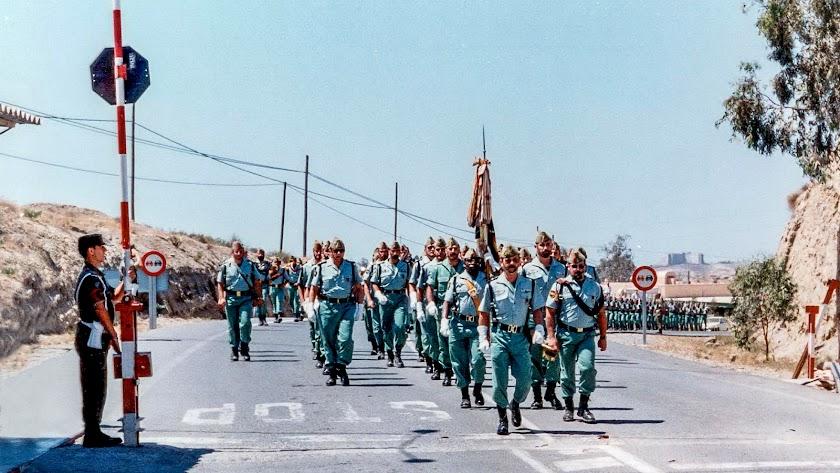 Llegada de los 200 legionarios a Viator el 1 de junio de 1995, en una imagen de la Brileg