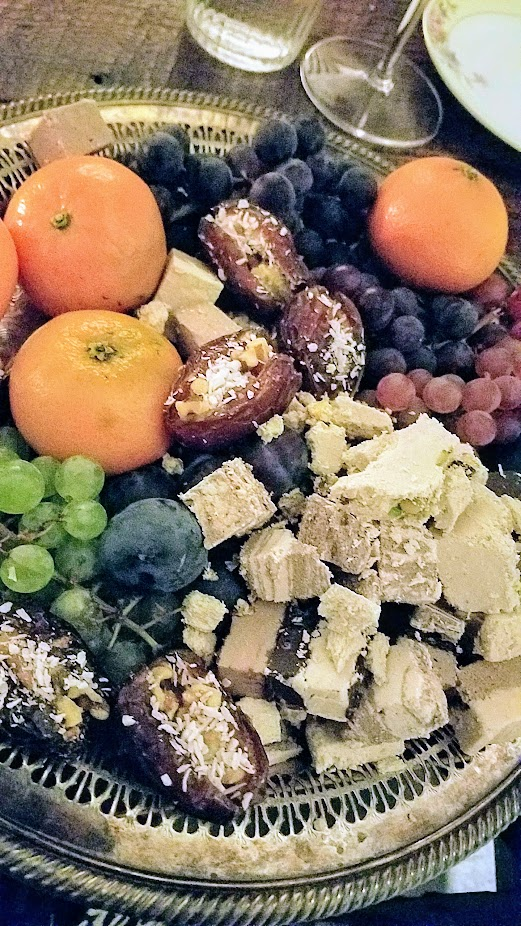 Breaking Breads Dinner Series Pop Up Shabbat, Dessert platter of fresh fruits and Halvah