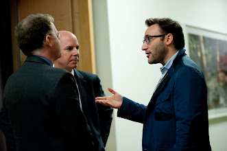 Photo: Simon Sinek (right) chats with David Rohde and Ted Harshberger during the RAND Politics Aside event. The event, RAND's invitation-only public policy weekend event, was Nov. 15-17, 2012 at RAND's Santa Monica headquarters campus.