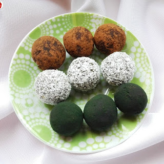 Spirulina And Coconut Chocolate Truffles.