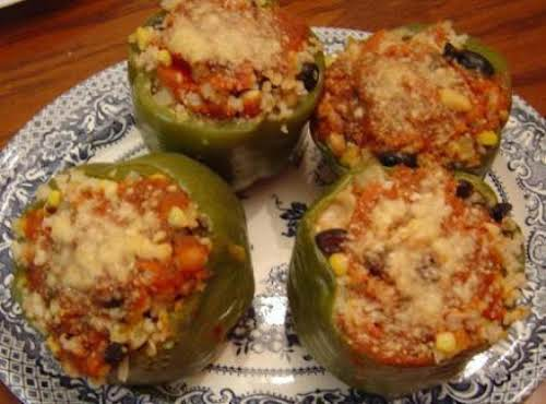 "Vegetarian Stuffed Peppers ""Don't let the fact there's no meat scare you off...."