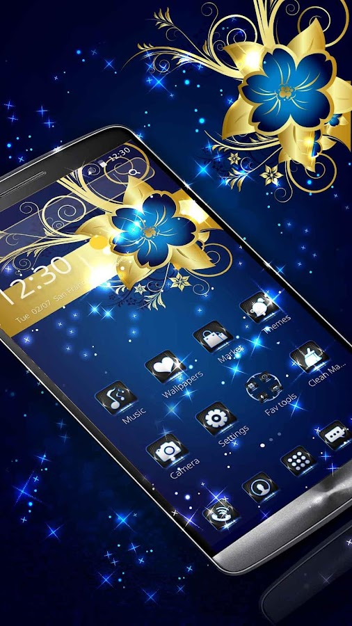 golden blue flower deluxe gold  android apps on google play, Beautiful flower