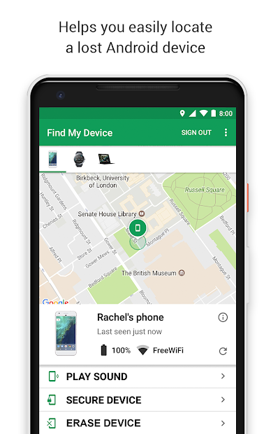 Google Find My Device Android App Screenshot