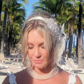 by Lena Arkell - Wedding Bride ( bride, beautiful, white, pearls, blonde, palm trees )