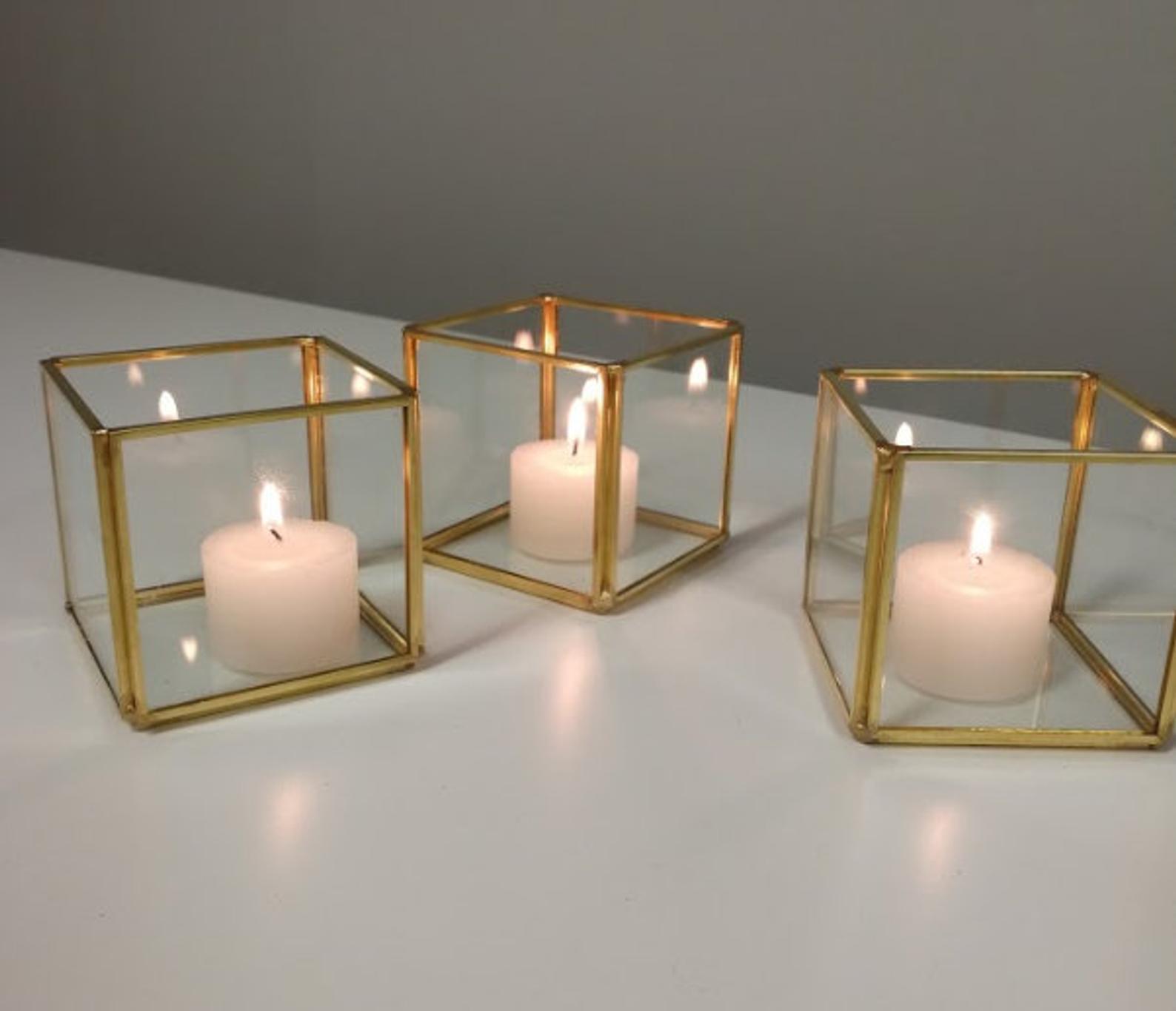 glass votive geometric terrarium for candles and succulents
