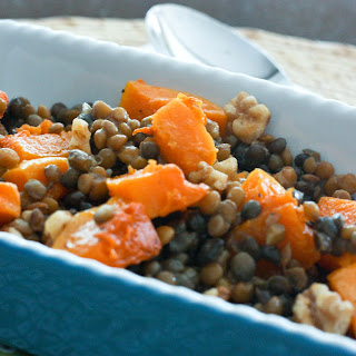 Roasted Butternut Squash with Lentils and Walnuts