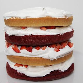 Red Velvet, Vanilla, Strawberry Layer Cake {Recipe}.
