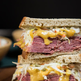 Corned Beef Cabbage Slaw Sandwich.