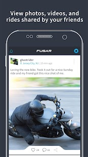 Fusar bike ride tracker, media network and comms- screenshot thumbnail