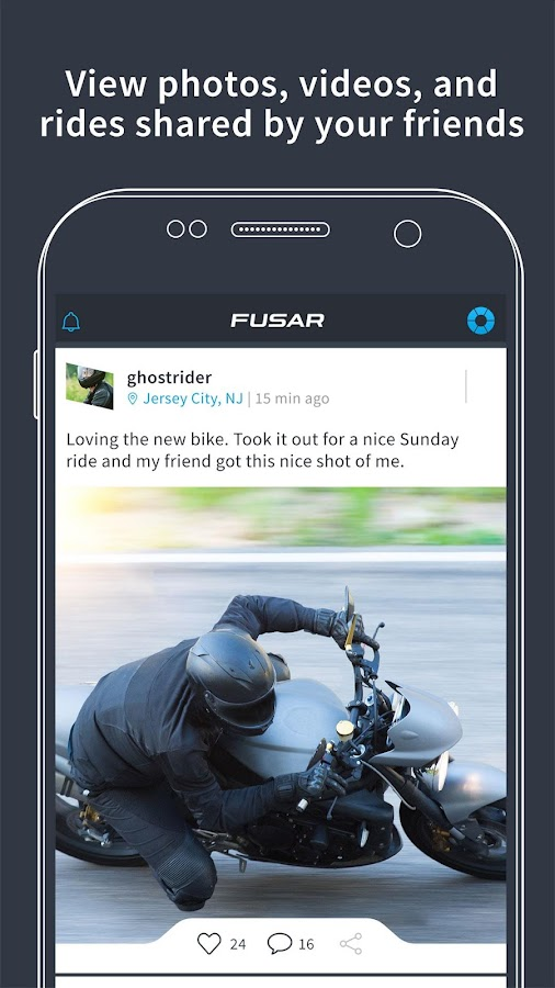 Fusar bike ride tracker, media network and comms- screenshot