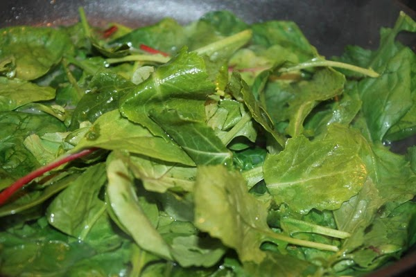Heat spinach/kale/chard til just wilted ... Plate by layering potatoes over spinach, topped with...