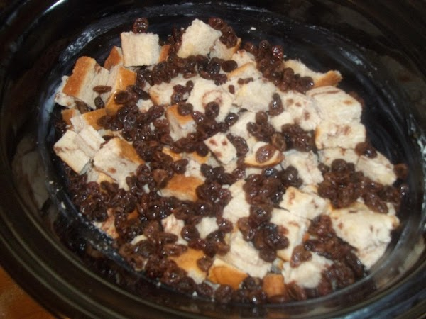 I made my own plump raisins to add; this was right before I added the egg mixture!