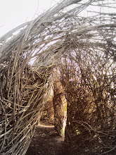"Photo: ""A Wiggle in Its Walk,"" a woven wooden structure by Patrick Dougherty at Wegerzyn Gardens in Dayton, Ohio."