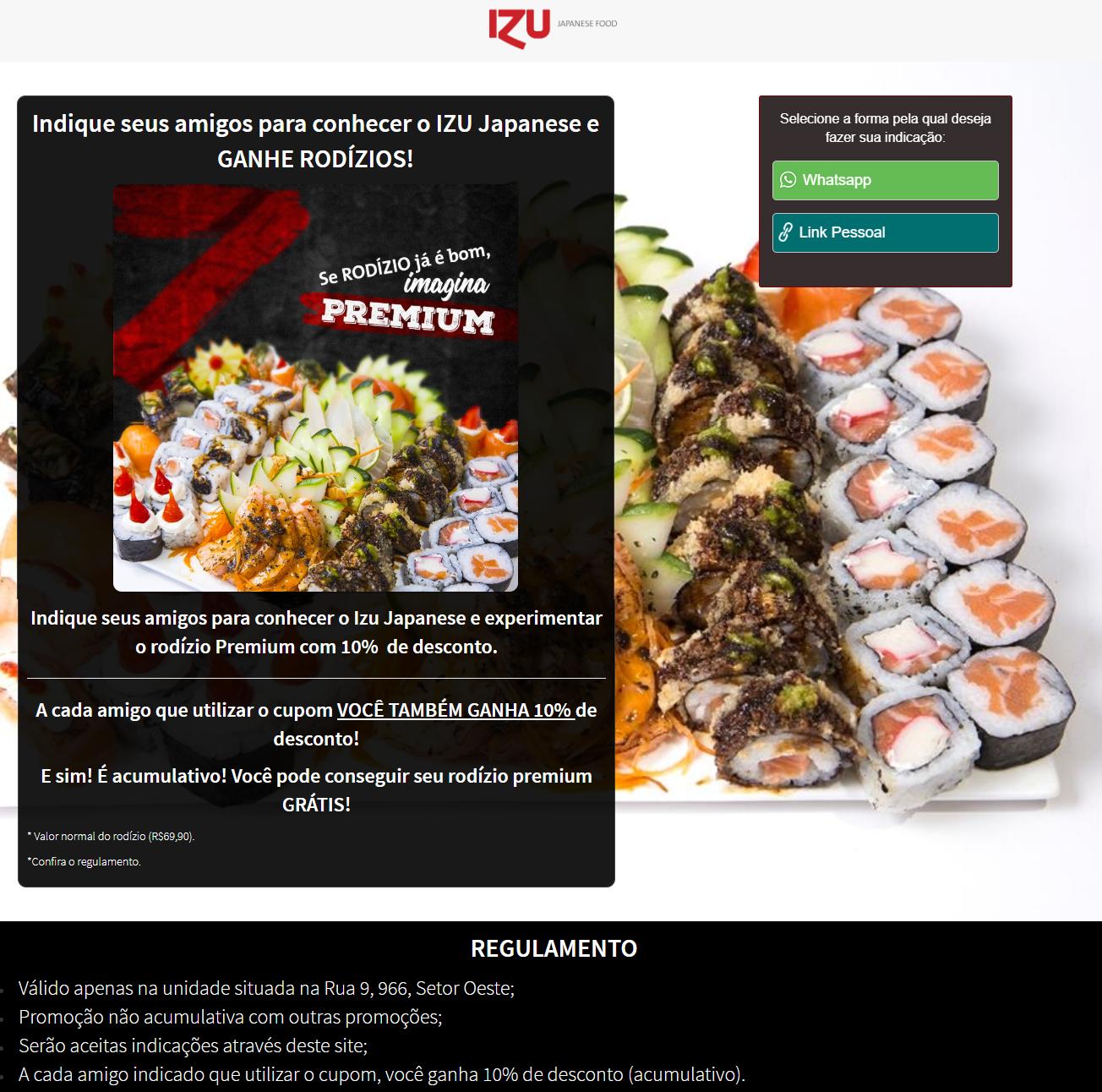 campanha de indicação do restaurante izu