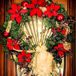 by Bonnie Davidson - Public Holidays Christmas ( home, advent, santa claus, door, bevelled glass,  )