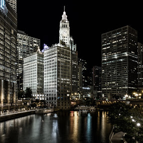 Chicago River by Jay Anderson - City,  Street & Park  Night ( night, chicago, wrigley, river )