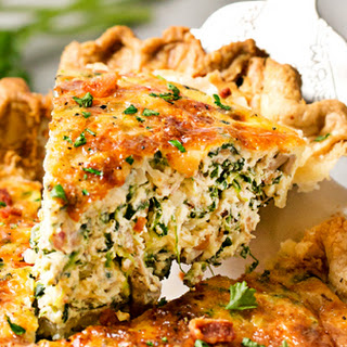 Basic Cheesy Spinach Quiche with Bacon.