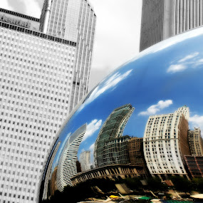 Chicago in The Bean by Julia Nicely - City,  Street & Park  Skylines ( skyline, reflection, black and white, chicago, city )