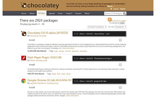 Chocolatey Chrome Extension