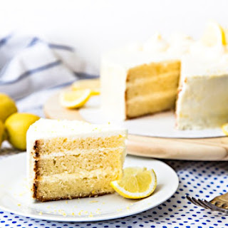 Lemon Layer Cake with Mascarpone Cream and Lemon Curd Frosting