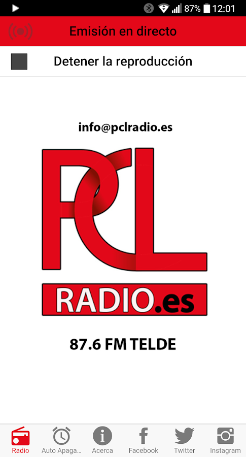 PCL RADIO: captura de pantalla