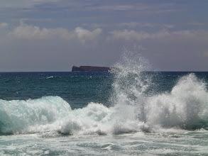 Photo: Crashing waves in front of Molokini.