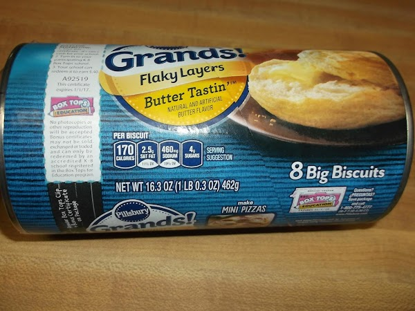 Bake biscuits per instructions on can, When done, remove from oven and set aside.