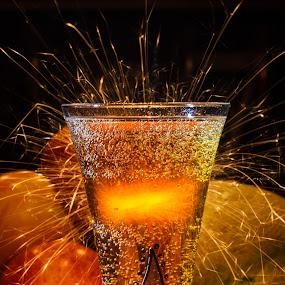 Happy New Year by Bjørn Kristiansen - Artistic Objects Glass ( glass, fireworks, sparklers )
