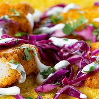 Crunchy Fish Tacos with Cilantro Crema.
