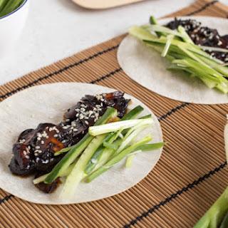 Vegetarian Chinese pancakes with homemade hoisin sauce.
