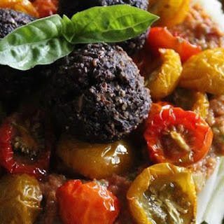 Marinated Zucchini Pasta With Basil Tomato Sauce, Dried Baby Tomatoes and Garlic Portobello Meatless Balls.