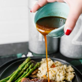 Honey Garlic Glazed Pork Chops with Asparagus & Mushrooms.